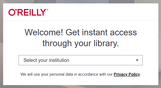 O'Reilly welcome. get instant access through your library.